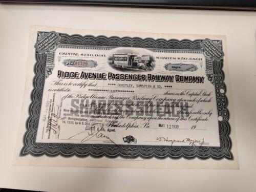 Ridge Ave, Passenger Railway Co. 4 Shares - Stock Certificate 1939