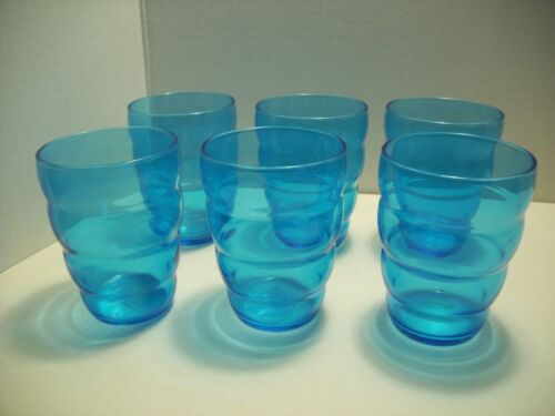 Ikea Set of 6 Skoja Glasses Tumblers Juice Blue Aqua Turquoise France Retro