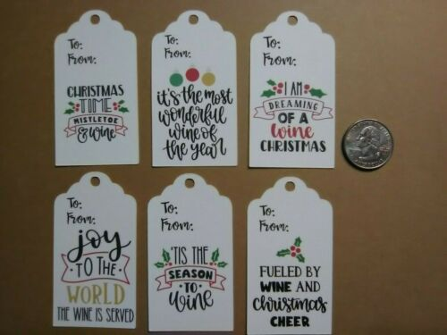 6 wine gift tags in PRINT scrapbook greeting card diecut