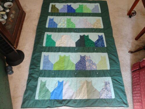 New Handmade Patchwork Quilt Blue & Green Cats twin size