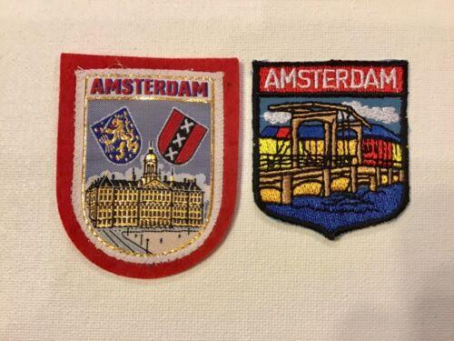 Set of 2 Amsterdam Netherlands European Souvenir Cloth Patches Badges