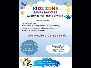 KIDZ ZONE FAMILY DAY CARE Narre Warren Casey Area Preview