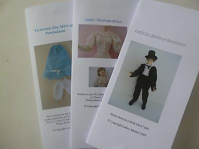 Knitting Patterns for 1:12scale dollhouse Victorian clothes: SET 2 for sale  Shipping to United States
