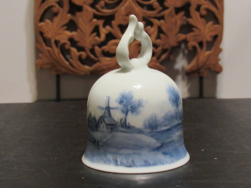 Blue and White Bell w/Windmill Boat Village Signed B.Olson