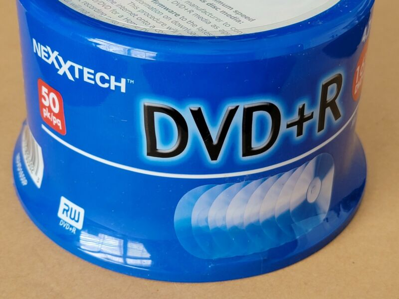 New NEXXTECH DVD+R Recordable Discs 16x Speed 120 Mins 4.7 Gb 50 Disc Spindle