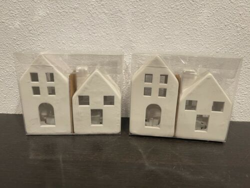 Target 4 Lighted Ceramic Houses White Modern Farmhouses 2 Packages. Sold Out!