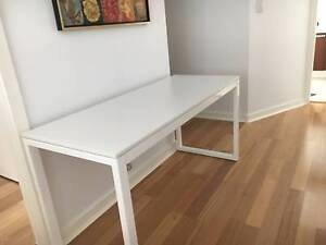 Large Desk - White with Stainless Steal Legs Northbridge Willoughby Area Preview