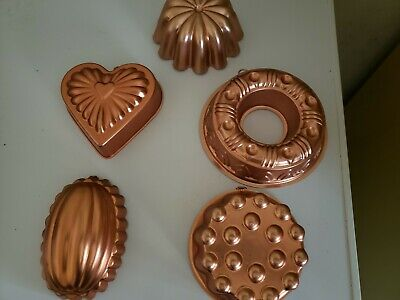 lot of 5 vintage jello copper gold molds wall hanging or use kitchen collectible
