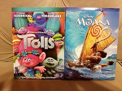 Trolls And Moana 2016 Dvd Lot 2