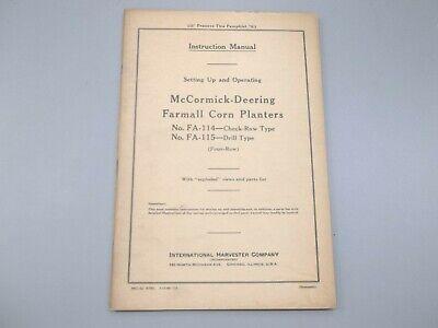 Mccormick-deering Fa-114 Check-row Fa-115 Drill Type Farmall Corn Planter Manual