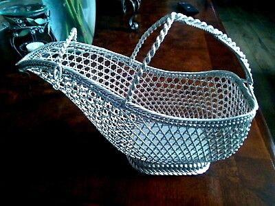 EISENBERG-LOZANO Wine Holder Basket Vintage Silver Plate Woven, France  L@@K!!!