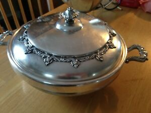 Tea service silver pan with plate