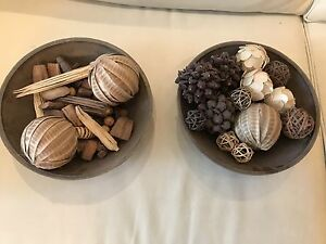 Decorative wood bowls and ornaments