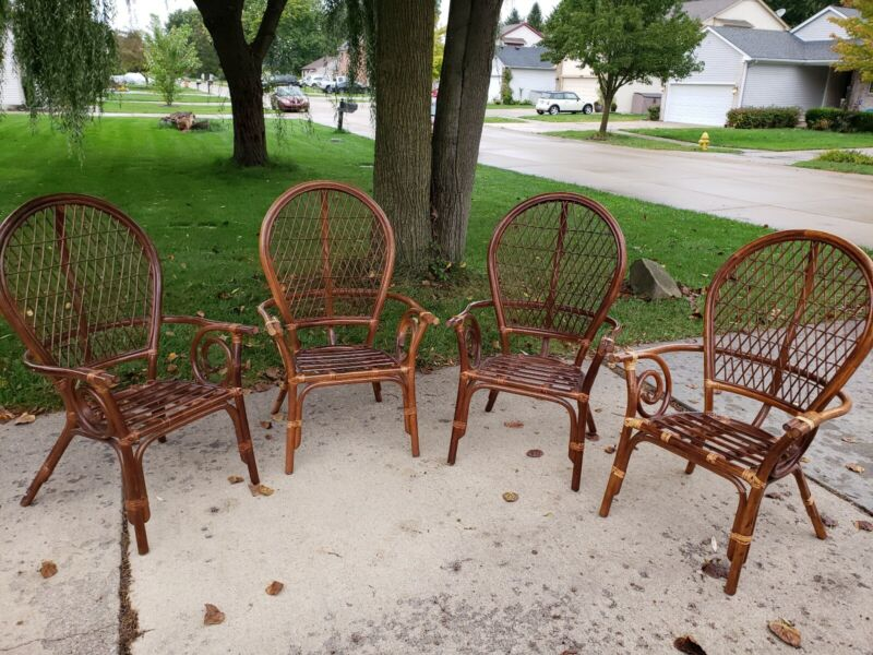 Vintage 4 Bamboo Chairs Large and Beautiful No Cushions