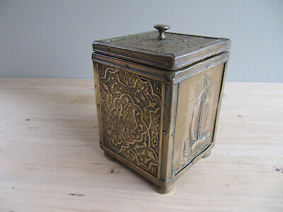 Vintage Brass on Wood Tea Caddy - Tin Lined - Clipper Ship