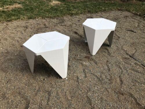Pair of Isamu Noguchi Prismatic Tables Vitra White Mid Century Vintage
