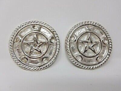 Pentagram Crescent Moon Altar Tile Silver Plated over Solid Brass 3