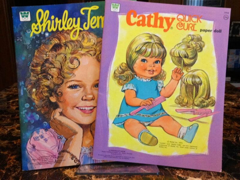 Lot of 2 Whitman Paper Doll Books - Shirley Temple, Cathy Quick Curl MINT Uncut