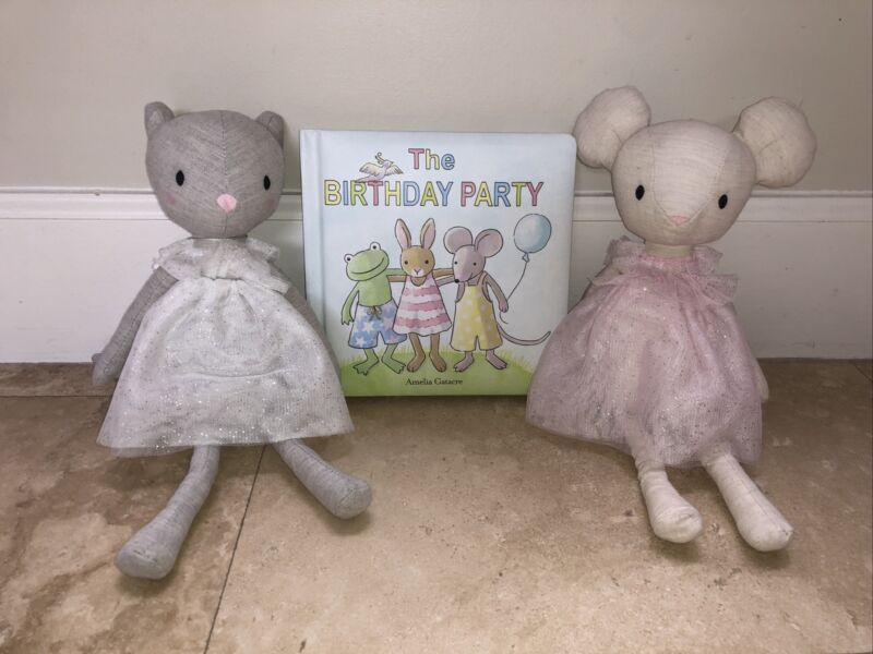 "Jellycat book and 2 plush cat and mouse ""The birthday party"""