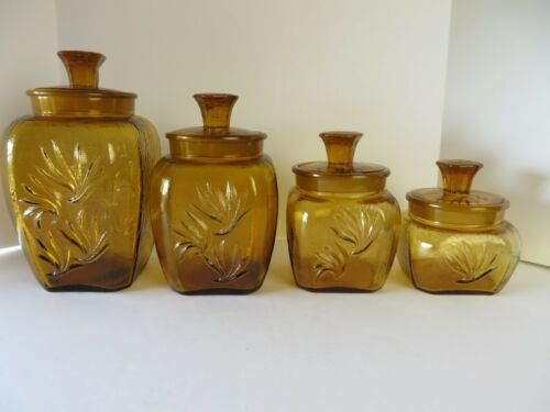 Vintage Indiana Glass Square Canister 4 Piece Set Gold Glass   #1629 LG