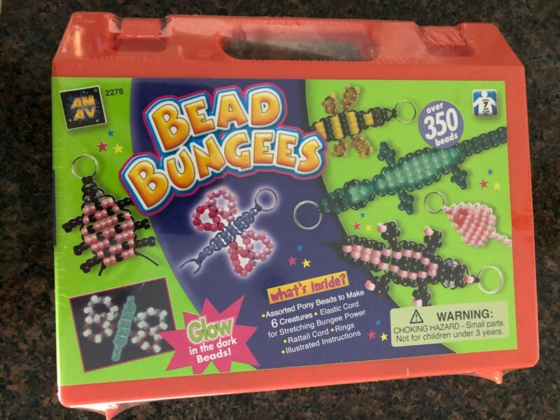 Bead Bungees - Fun Bead Activity Kit - Over 350 Beads and Glow-in-the-Dark Beads