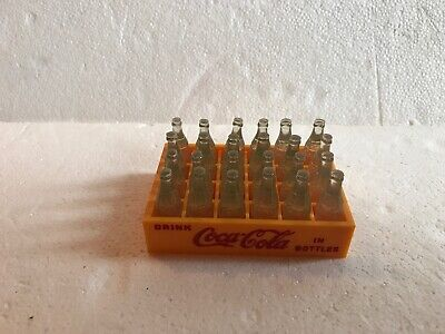 Vintage Coca Cola Mini Coke Bottles Yellow Plastic Crate Case  Toy With Box