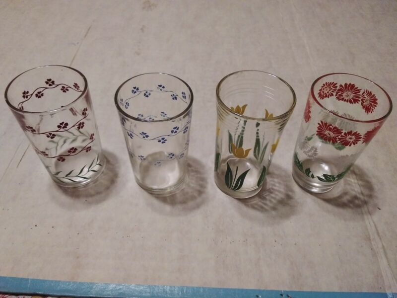 Vintage Swanky Swigs 4 Assorted With Flowers