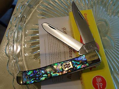 Kissing Crane Limited Genuine Abalone 2 Blade Trapper Pocket Knife 5220 440 New
