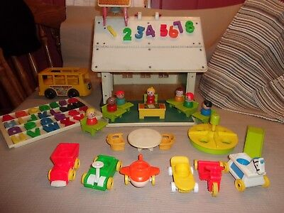 Vintage Fisher Price Little People Play Family School House with Playground Bus