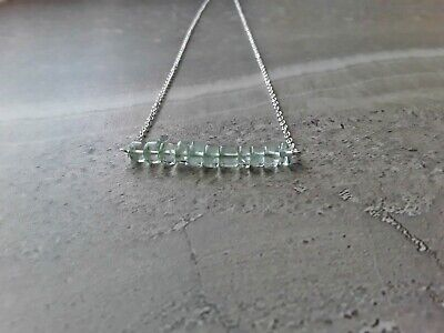 Green Amethyst February Birthstone Classic Bar Pendant Necklace Sterling Silver