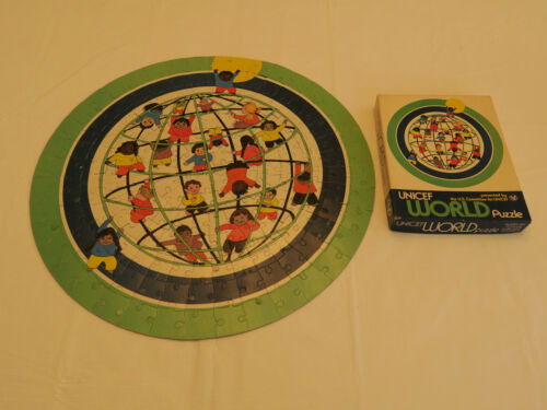 UNICEF World Puzzle, Vintage, U.S. Committee, 20 Inches Round, Jigsaw 200 Pieces