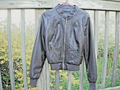 womens brown faux leather jacket, therapy, size L