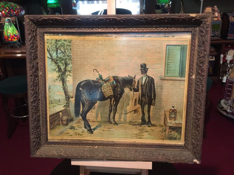 "1935 GREEN RIVER Whiskey NEGRO Folk Art Framed Lithograph Cardboard AD 20"" x 24"""