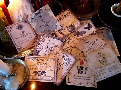 12 Vintage Halloween Potion Apothecary Labels Peel&Stick (set#2) Witch Decor