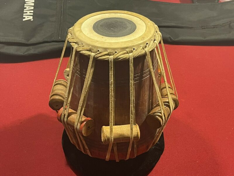 "Tabla Indian Hand Carved Drum Vintage Wooden And Raw Hide 12"" Tall 6"" Top Wide"