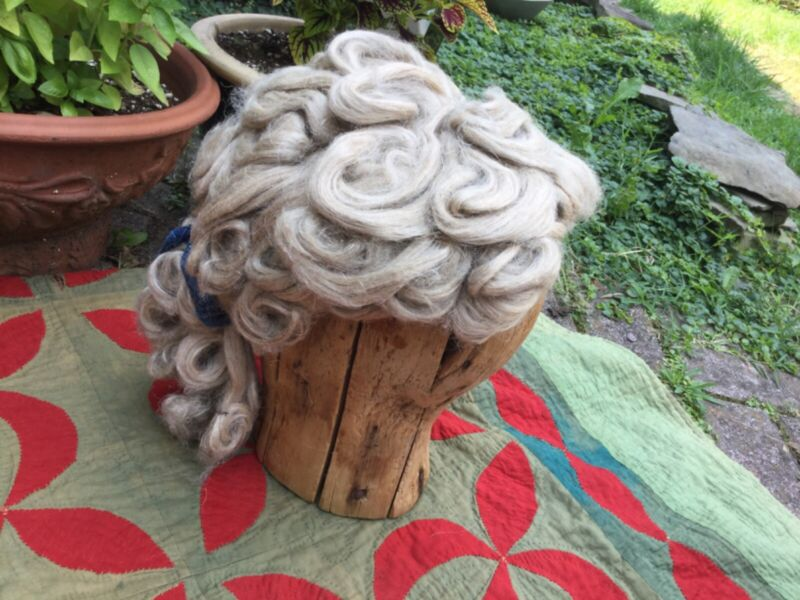 AAFA flax primitive wig hand made great display piece