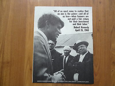 ROBERT F. KENNEDY authentic campaign political hand bill for nebraska farmers for sale  Farwell