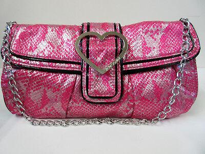 New Betsy Johnson Dark Pink & Black with Heart Shaped Buckle Handbag Purse