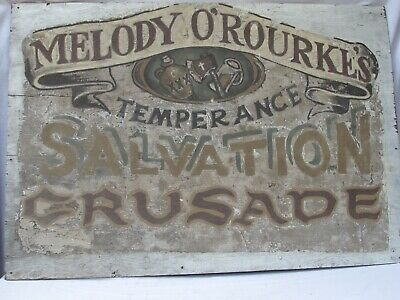 Antique Melody O'Rourke's Temperance Salvation Crusade Banner
