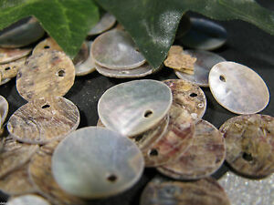 10 Perlmutt Scheiben natur 1,3 cm, Schmuck mit Perlen basteln, Anhänger, Scheibe