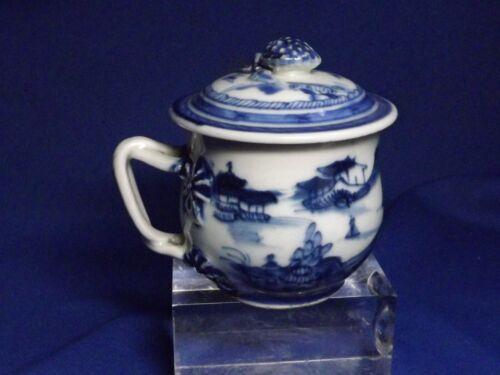 Antique Chinese Export Blue & White Canton  Porcelain Cup & Cover Pot de Creme