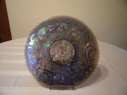 IMPERIAL PURPLE CARNIVAL GLASS  FOOTED PLATE WITH ROSES