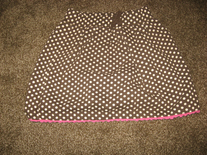 Genuine Kids from Osh Kosh Brown Polka Dot Cotton Blend Skirt GUC 5T