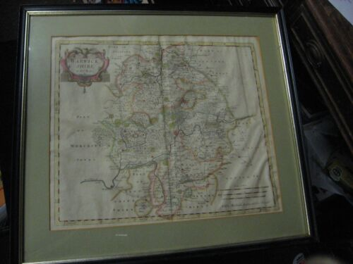 Antique Robert Morden Hand Coloured Copperplate Engraving Map of Warwickshire