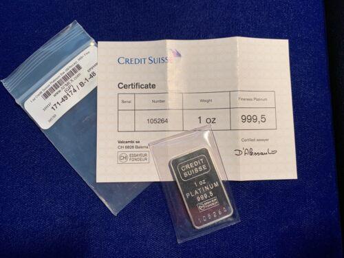 CREDIT SUISSE 1 OZ. .9995 PLATINUM INGOT / BAR, WITH CERTIFICATE OF AUTHENTICITY