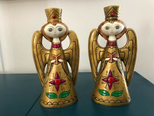 Vintage Mid Century Pair of Dickson Angel Figurines Candleholders Made in Japan