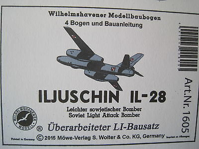 Iljuschin IL-28 Bomber Flugzeug Wilhelmshavener Modellbaubogen Kartonmodel