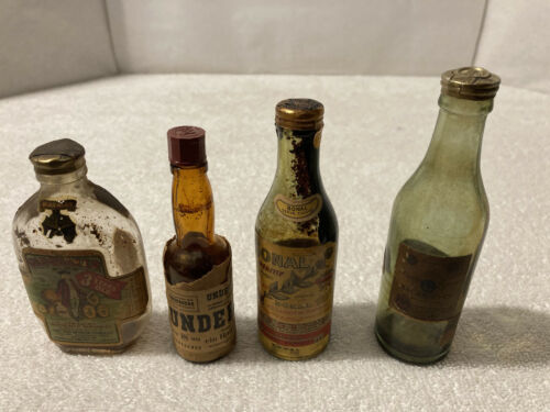 Lot of 4 Empty Vintage MINI LIQUOR BOTTLES 1930's & 1940