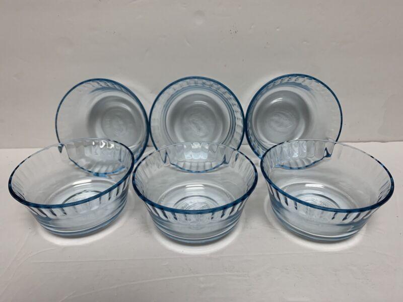 Colorex Lot Light Blue Glass Custard Cup Dessert Bowls Made in Brazil. Preowned