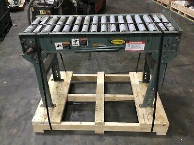 Hytrol 4 Belt Driven Roller Conveyor Adjustable Legs Missing Motor 103bk
